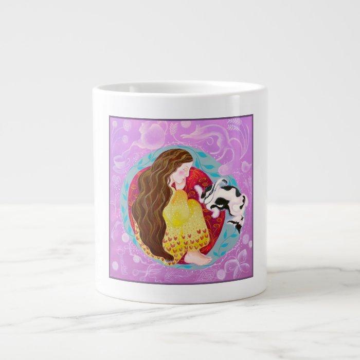 Sleeping Cat and Sleeping Lady. Large Coffee Mug