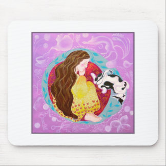 Sleeping Cat and Sleeping Lady. Mouse Pad