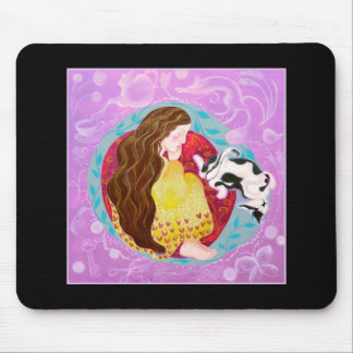 Sleeping Cat and Sleeping Lady. On Black. Mouse Pad