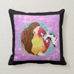 Sleeping Cat and Sleeping Lady. On Black. Throw Pillow