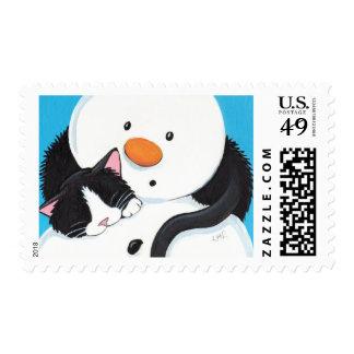 Sleeping Cat and Xmas Snowman - Medium Postage