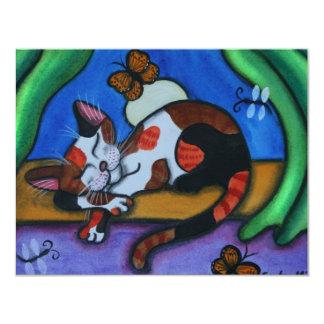 Sleeping Cat Butterflies and Dragonflies Card