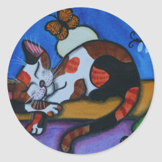 Sleeping Cat Butterflies and Dragonflies Classic Round Sticker