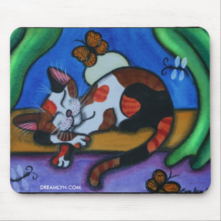 Sleeping Cat Butterflies and Dragonflies Mouse Pad