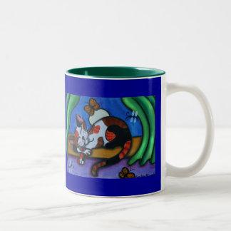 Sleeping Cat Butterflies and Dragonflies Two-Tone Coffee Mug