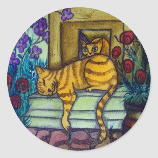 Sleeping Cat Classic Round Sticker