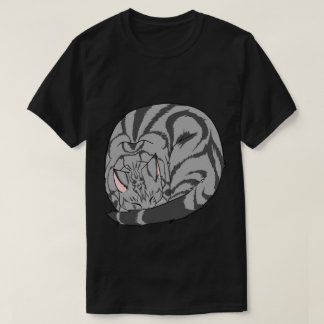 Sleeping Cat (Curled Up) Classic Tabby Gray T-Shirt