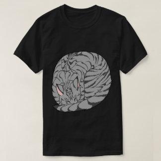 Sleeping Cat (Curled Up) Mackerel Tabby Gray T-Shirt