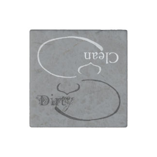 Sleeping Cat Dirty / Clean Dishwasher (gray) Stone Magnet