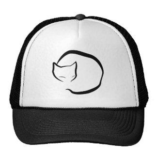 Sleeping cat in four lines trucker hat