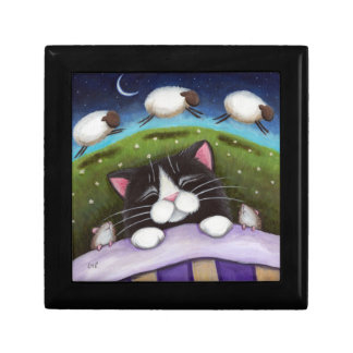 Sleeping Cat & Mice   Fantasy Art Trinket Gift Box