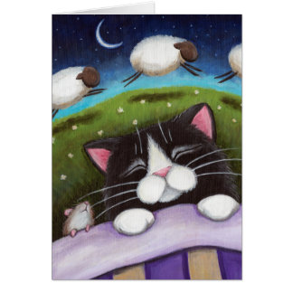 Sleeping Cat & Mouse Dream of Sheep - Cat Art Card