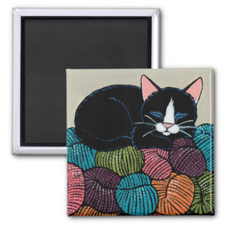 Sleeping Cat on Mountain of Yarn Illustration 2 Inch Square Magnet