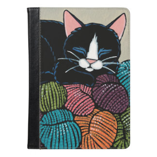 Sleeping Cat on Mountain of Yarn Illustration iPad Air Case