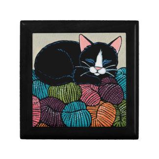 Sleeping Cat on Mountain of Yarn Illustration Jewelry Box