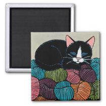 Sleeping Cat on Mountain of Yarn Illustration Magnet