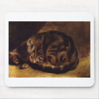 Sleeping Cat Painting Artwork Mouse Pad