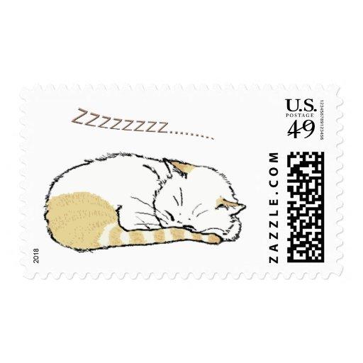 sleeping cat postage stamp