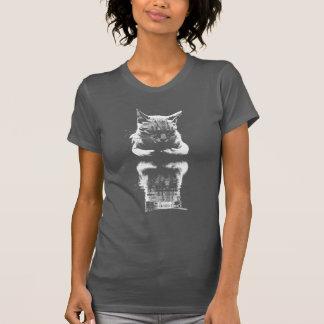 Sleeping Cat Reflection Monochrome T-shirt