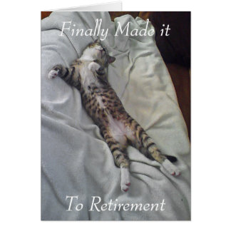 Sleeping cat retirement greeting card