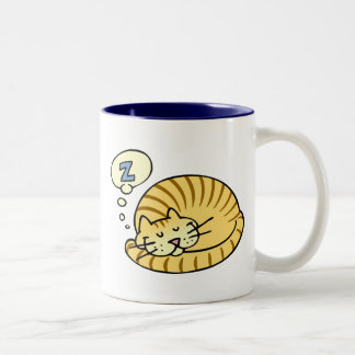 Sleeping Cat Two-Tone Coffee Mug