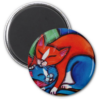 Sleeping Cats 2 Inch Round Magnet