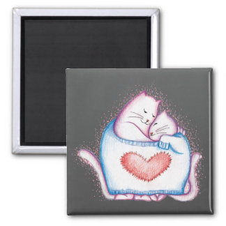 Sleeping Cats 2 Inch Square Magnet