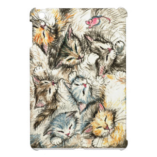 Sleeping cats and kittens with pink mouse case for the iPad mini