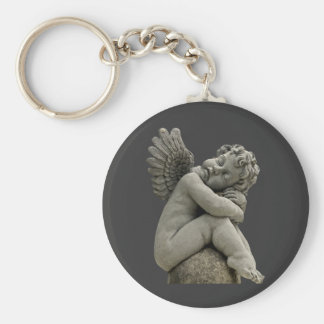Sleeping Cherub Angel Sculpture Keychain.