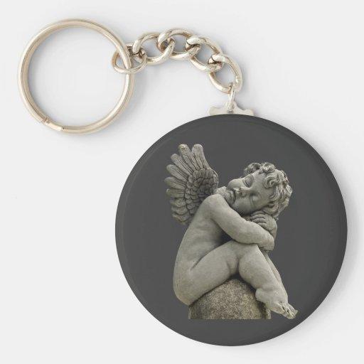 Sleeping Cherub Angel Sculpture Keychain. Basic Round Button Keychain