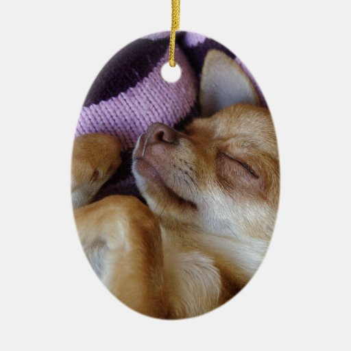 Sleeping Chihuahua Double-Sided Oval Ceramic Christmas Ornament