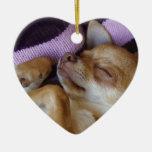 Sleeping Chihuahua Double-Sided Heart Ceramic Christmas Ornament