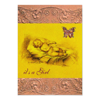 SLEEPING CHILD, BUTTERFLY YELLOW PINK  BABY SHOWER 5X7 PAPER INVITATION CARD