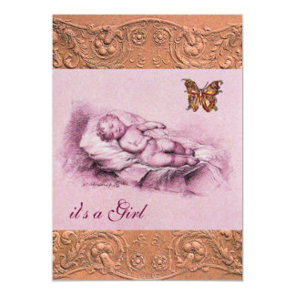 SLEEPING CHILD WITH BUTTERFLY GIRL BABY SHOWER 5X7 PAPER INVITATION CARD