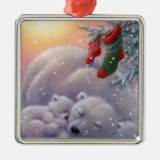 Sleeping Christmas Polar Bears Metal Ornament