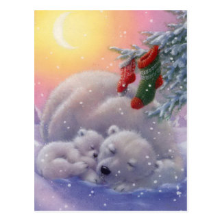 Sleeping Christmas Polar Bears Postcard