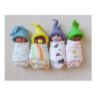 Sleeping Clay Babies: Polymer Clay Sculpture Postcard