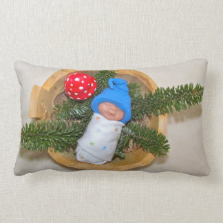 Sleeping Clay Baby Elf with Toadstool Throw Pillow