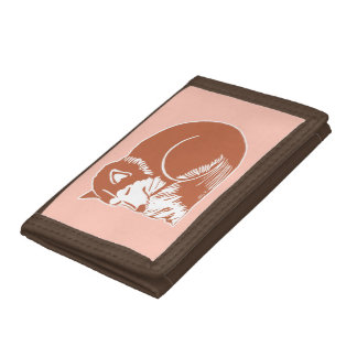 Sleeping Copper Brown Husky Peach Wallet