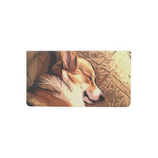 Sleeping Corgi Checkbook Cover