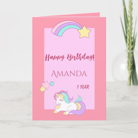 Sleeping Cute Unicorn Happy Magical 1st Birthday Card