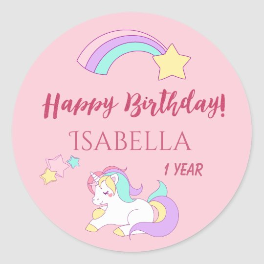 Sleeping Cute Unicorn Magical Happy Birthday Pink Classic