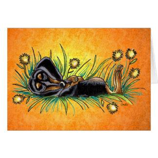 Sleeping Dachshund in Dandelions Custom Card