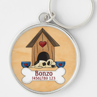 Sleeping Dog and Doghouse Dog ID Tag Silver-Colored Round Keychain