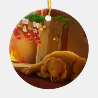 Sleeping Dog Christmas Ornament