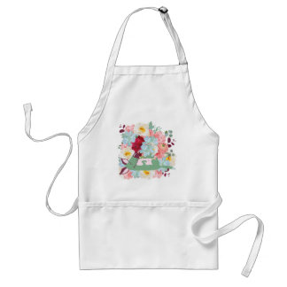 Sleeping Dog with Flowers Adult Apron