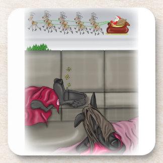 Sleeping dogs missing Santa Beverage Coaster
