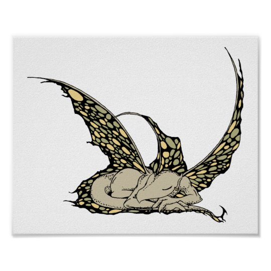 Sleeping Dragonette (Yellow) Print
