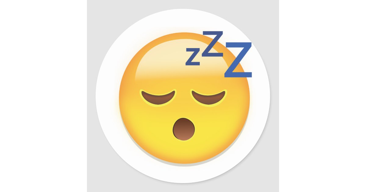 sleeping face emoji classic round sticker. Black Bedroom Furniture Sets. Home Design Ideas