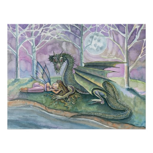 Sleeping Fairy and Dragon Poster Print